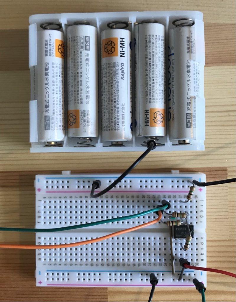 電池ボックス単3×10と差動増幅器