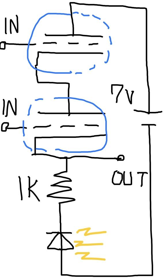 双三極管でAND回路を作ってみた