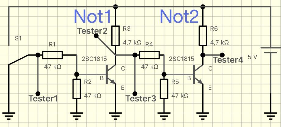 2SC1815で作った二重に連結されたNot回路