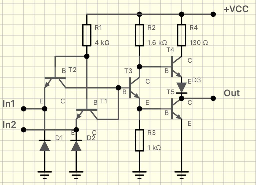 トランジスタによる標準的NAND回路