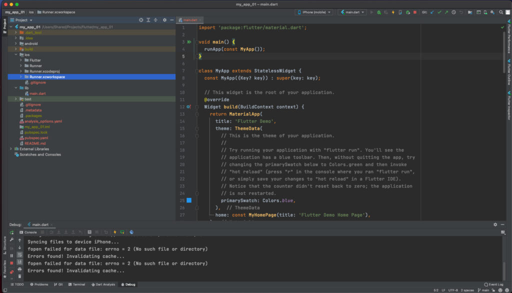Android Studio Flutter Default Application